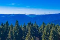 Schwarzer Waldlandschaft mit Windturbinen Lizenzfreies Stockfoto