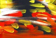 Schwarzer, weißer, roter, gelber abstrakter Hintergrund Handgemalte Illustration lizenzfreies stockbild
