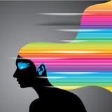 Schwarzer weiblicher Kopf mit dem Regenbogenhaar Lizenzfreies Stockfoto