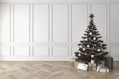 Schwarzer Weihnachtsbaum im klassischen Raum, leere weiße Wand, Geschenke vektor abbildung