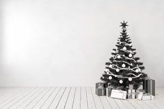 Schwarzer Weihnachtsbaum im Raum, leere weiße Wand, Geschenke lizenzfreie abbildung