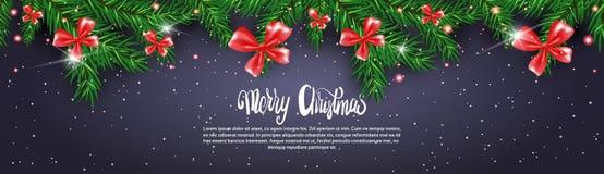 Schwarzer Weihnachtsfahnen-Hintergrund mit den Tannenzweigen verziert mit roten Bögen vektor abbildung