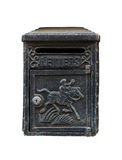 Schwarzer Weinlese-Briefkasten auf Weiß Stockfoto