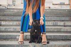 Schwarzer Welpe der französischen Bulldogge, der auf Treppe zwischen weiblichen Beinen sitzt lizenzfreie stockfotos
