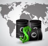 Schwarzes Ölbarrel und das Zeichen des Dollars Stockbild