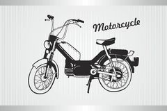 Schwarzes altes Motorrad, handdrawn Vektorillustration Stockbilder