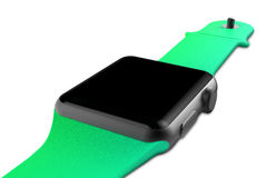 Schwarzes Aluminium der Uhr Stockfoto