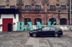 Schwarzes Auto, Coupé BMWs E46 Lizenzfreies Stockbild