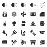Schwarzes Autoschnittstellenzeichen und -ikonen vektor abbildung