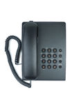Schwarzes Bürotelefon mit dem Hörer bei aufliegendem Hörer stockfoto