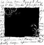 Schwarzes Blumenfeld auf Schreibensmustern Stockfoto