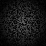 Schwarzes Blumentapetenmuster Stockfotos