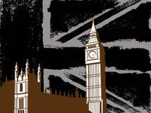Schwarzes Briten-Design mit großem Ben Flag Stockfotos