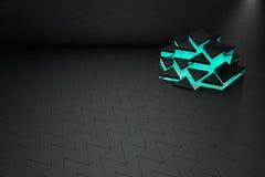 Schwarzes 3D und Türkisdreieckhintergrund Stockfotografie