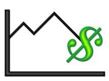 Schwarzes Diagramm mit grünes Geld-Symbol Stockbild