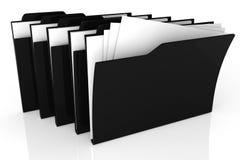 schwarzes Dossier 3d auf weißem Hintergrund Stockfotografie