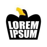 Schwarzes Eagle-Logo Schwarzes Krähenzeichen Kopf des Falkeemblems vogel Stockfotografie