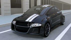 Schwarzes elektrisches Sportautofahren auf die Straße vektor abbildung