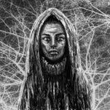 Schwarzes enthäutetes Medizinmannmädchen in der Haube Ogange Blume Fractal stockfoto
