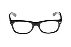 Schwarzes faßte die Retro- Gläser ein, die auf Weiß getrennt wurden Lizenzfreies Stockbild