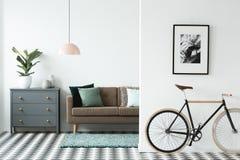 Schwarzes Fahrrad im Wohnzimmer stockfotografie