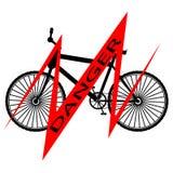Schwarzes Fahrrad mit rote Linie und Aufschrift GEFAHR - Vektorillustration lizenzfreie abbildung