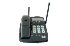 Schwarzes farbiges Funktelefon. lizenzfreie stockfotografie