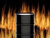 Schwarzes Fass auf Flammenhintergrund Stockbild