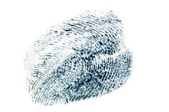 Schwarzes Fingerabdruckmuster lokalisiert auf weißem Hintergrund Stockfoto