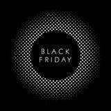 Schwarzes Freitag-Verkaufsplakat oder Fahnenvektorschablone mit dunklem Halbtonhintergrund und schwarzer Fleck oder Ausweis für I stockfotografie