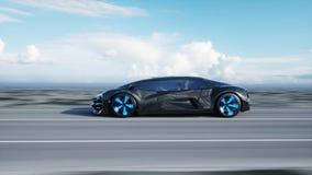 Schwarzes futuristisches Elektroauto auf Landstraße in der Wüste Sehr schnelles Fahren Konzept von Zukunft Wiedergabe 3d lizenzfreie abbildung