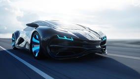 Schwarzes futuristisches Elektroauto auf Landstraße in der Wüste Sehr schnelles Fahren Konzept von Zukunft Wiedergabe 3d stock abbildung