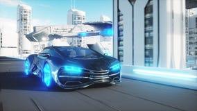 Schwarzes futuristisches schnelles Fahren des Elektroautos sehr in sci FI-sity, Stadt Konzept von Zukunft Wiedergabe 3d lizenzfreie abbildung