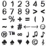 Schwarzes gebogene Zahlen 3D und Symbole Lizenzfreies Stockbild