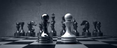 Schwarzes gegen wihte Schach-Pfandgegenstandhintergrund Stockfoto
