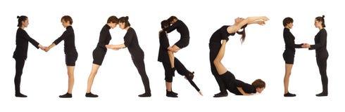Schwarzes gekleidete Leute, die MÄRZ-Wort bilden Lizenzfreies Stockbild