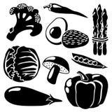 Schwarzes Gemüse silhouettiert Ikonen auf weißem Hintergrund, Vegetariersatz Lizenzfreies Stockfoto