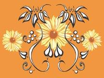 Schwarzes gemustertes Susans mit Blumen Lizenzfreie Stockfotos