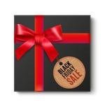 Schwarzes Geschenk mit rotem Bogen stock abbildung