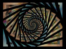 Schwarzes Goldblaues gewundenes Muster Stockbild