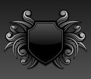 Schwarzes gotisches Schildemblem Stockfotos