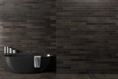 Schwarzes hölzernes Badezimmer, Wanne Stockfoto