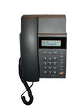 Schwarzes Haupttelefon, Vorwahlknopf nummeriert Panel, Makro, Stockfoto
