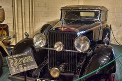 1928 schwarzes Hispano Suiza Antikenfahrzeug Stockfotografie