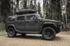 Schwarzes Hummer H2, Nahaufnahmefoto Stockfotografie