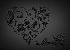 Schwarzes kalligraphisches Herz mit Schatten und Liebeswort auf dem schwarzen Hintergrund Stockbild