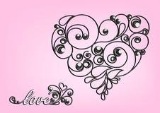 Schwarzes kalligraphisches Herz- und Liebeswort auf dem rosa Hintergrund Stockbild
