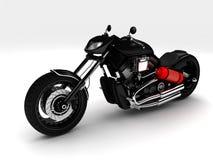 Schwarzes klassisches Motorrad auf einem weißen Hintergrund stockfotografie