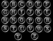 Schwarzes Knopf-Alphabet sehr ausführlich lizenzfreie abbildung