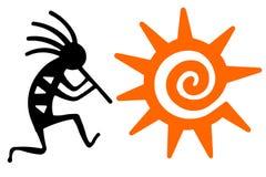 Schwarzes Kokopelli und orange Sonne Stockbild